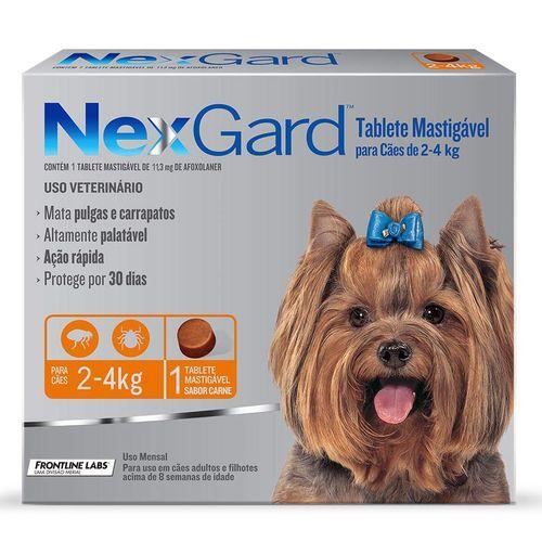 Antipulgas e Carrapatos Merial NexGard para Cães de 2 a 4 Kg - 11,3 mg