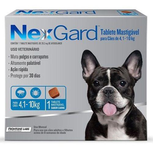 Antipulgas e Carrapatos Merial NexGard para Cães de 4,1 a 10 Kg - 28,3 mg