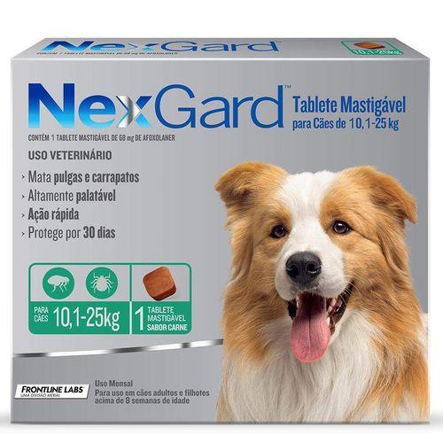 Antipulgas e Carrapatos Merial NexGard para Cães de 10,1 a 25 Kg - 68 mg