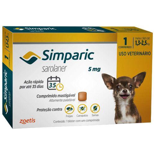Antipulgas Zoetis Simparic para Cães de 1,3 a 2,5 Kg - 5 mg