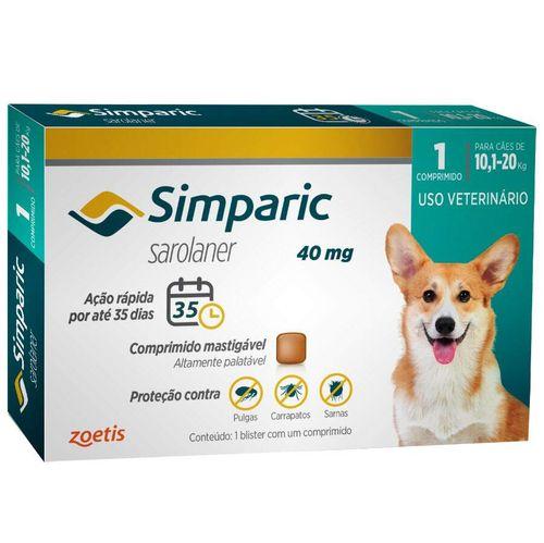 Antipulgas Zoetis Simparic para Cães de 10,1 a 20 Kg - 40 mg