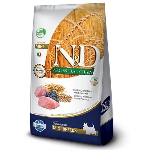 Ração N&D Ancestral Grain Mini Para Cães Adultos Raças Pequenas Sabor Cordeiro E Blueberry