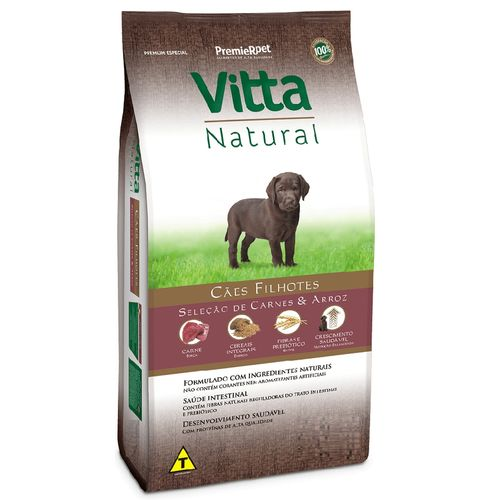 Ração Vitta Natural Carne E Arroz Cães Filhotes Racas Pequenas