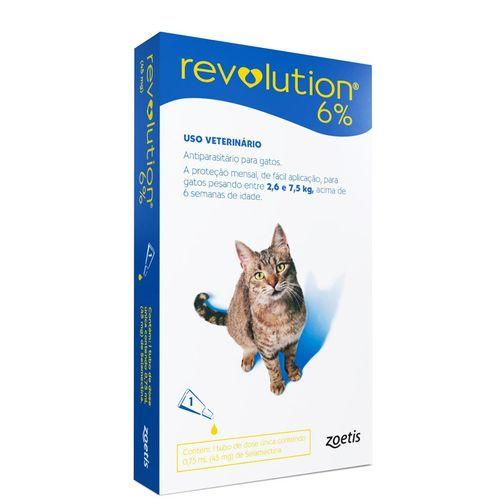 Antipulgas e Carrapatos Zoetis Revolution 6% para Gatos de 2,6Kg à 7,5Kg - 0,75 ml
