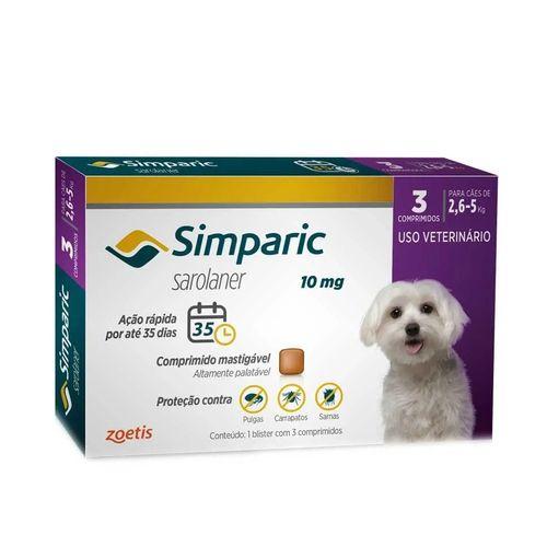 Antipulgas Zoetis Simparic para Cães de 2,6 a 5 Kg - 10 mg