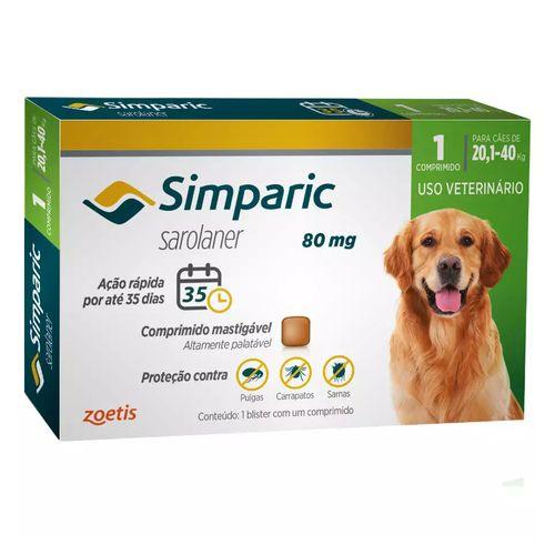 Antipulgas Zoetis Simparic para Cães de 20,1 a 40 Kg - 80 mg