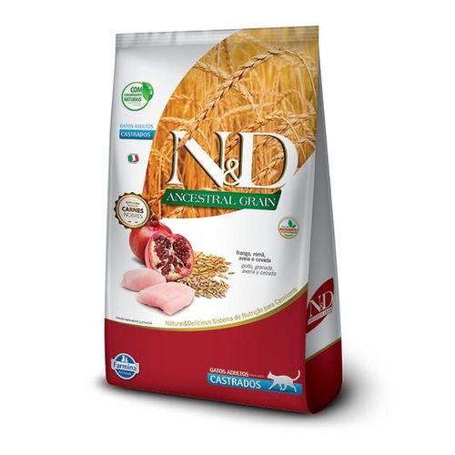 Ração N&D Ancestral Grain Para Gatos Adultos Castrados Sabor Frango E Romã