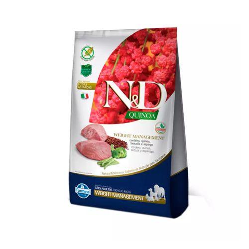 Ração N&D Quinoa Weight Management Para Cães Adultos Sabor Cordeiro