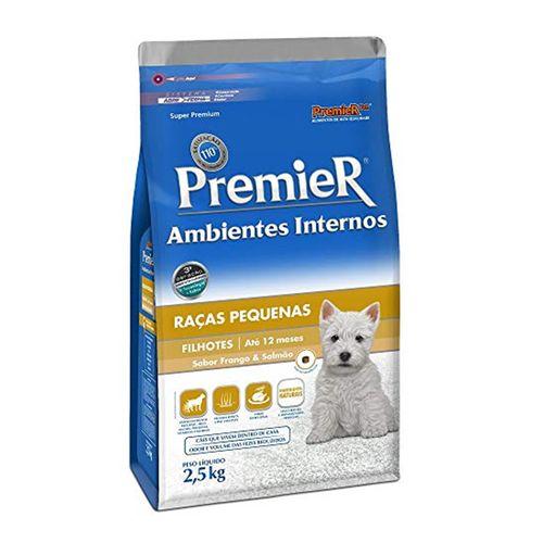 Ração Premier Pet Ambientes Internos Cães Filhotes Sabor Frango e Salmão