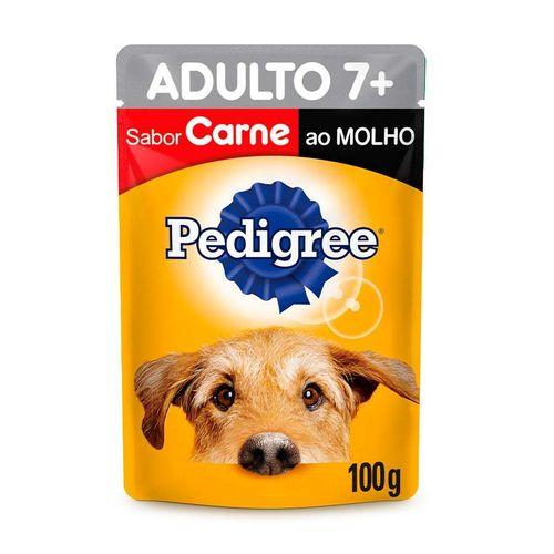 Ração Úmida Pedigree Para Cães Adultos 7+ Anos Sachê Sabor Carne ao Molho