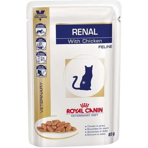 Ração Royal Canin Sachê Feline Veterinary Diet Renal Frango para Gatos com Doenças nos Rins
