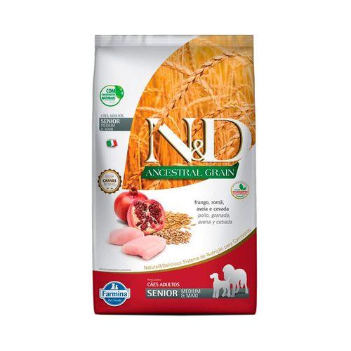 Ração Farmina N&D Ancestral Grain para Cães Sênior de porte Médio sabor Frango e Romã