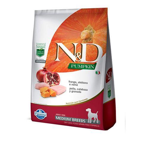 Ração N&D Pumpkin para Cães Adultos Raças Média sabor Frango, Abóbora e Romã