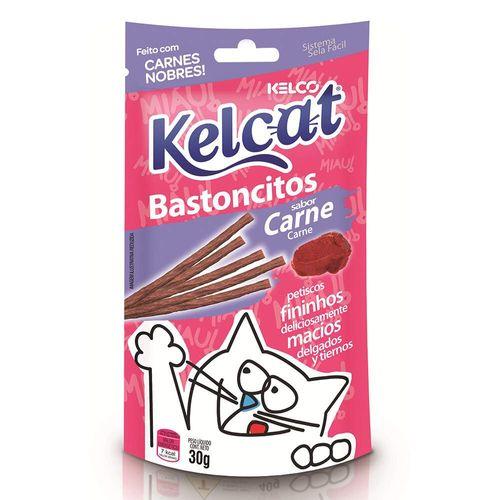 Snack KelCat Bastoncitos para Gatos Adultos e Filhotes Sabor Carne