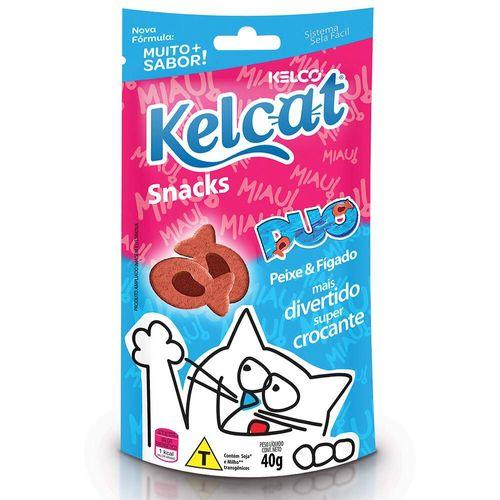 Snack Kelcat Duo para Gatos Adultos e Filhotes Sabor Peixe e Fígado