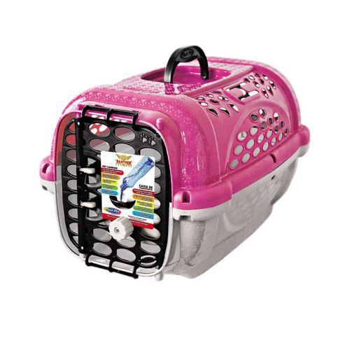 Caixa de Transporte Panther Pop Plast Pet Rosa para Cães e Gatos