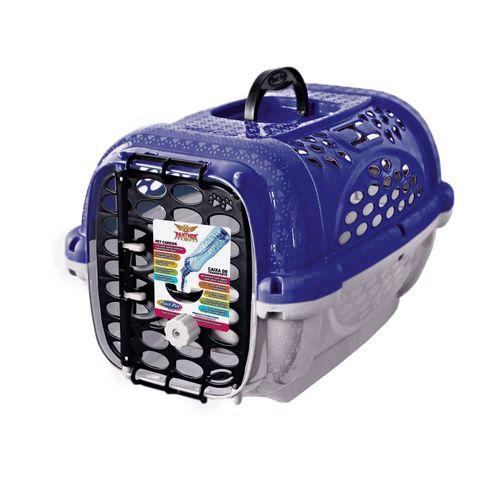 Caixa de Transporte Panther Pop Plast Pet Azul para Cães e Gatos