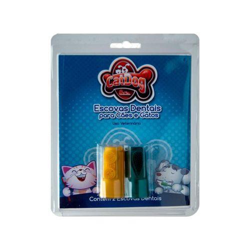 Kit Dental CatDog Para Cães e Gatos com 2 Dedeiras - Cores Sortidas