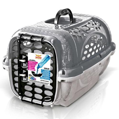 Caixa de Transporte Para Cães e Gatos Panther Cinza