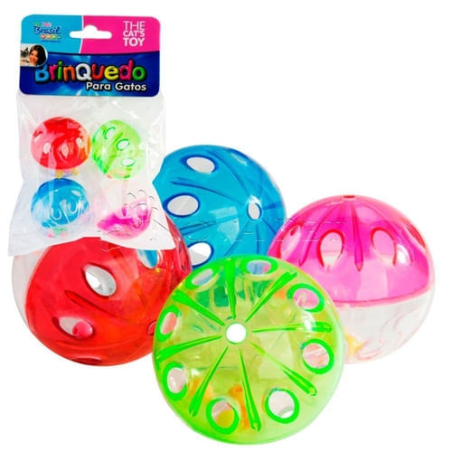 Brinquedo Gato Bolinhas Cristal Com 4 unidades Cores Variadas