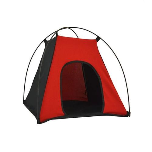 Barraca para cães e gatos Tubline pet camping preto e vermelho