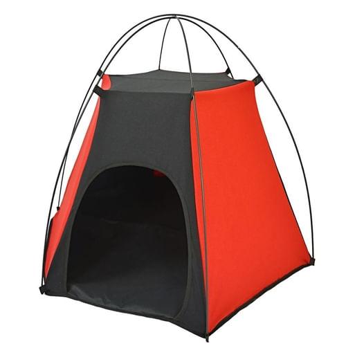 Tenda para cães e gatos tubline pet camping preto e vermelho