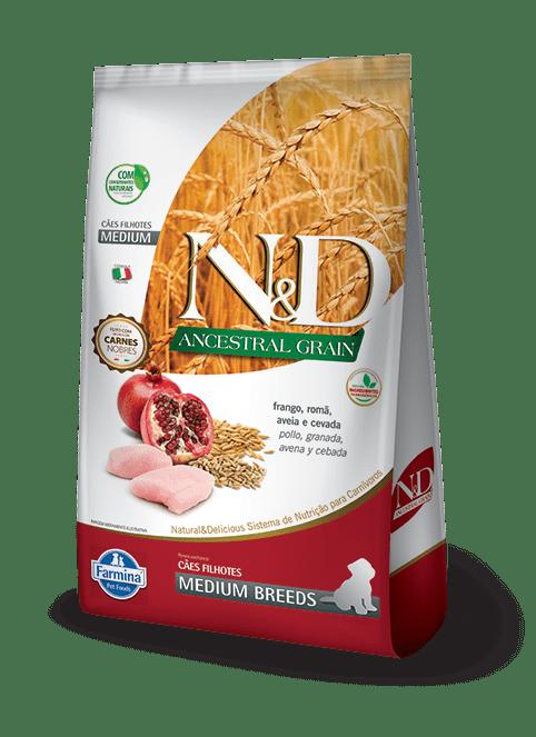 Ração N&D Ancestral Grain Para Cães Filhotes Raças Médias Sabor Frango E Romã