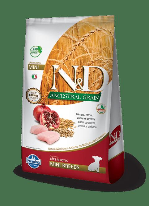 Ração N&D Ancestral Grain Para Cães Filhotes Raças Pequenas Sabor Frango E Romã